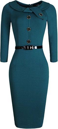 jeansian Women's Doll Collar Gowns Pencil Dress with Belt WKD189 Green L