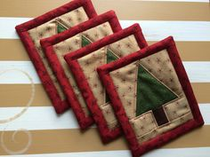 Quilted Christmas Tree Coasters  Moda fabrics set of 4 by seaquilt