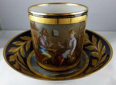 Antique Sevres Cup & Saucer - 1764 Double L Mark - Figural - Very Rare Porcelain