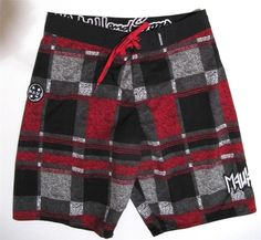 Maui and Sons Boardshorts Size 34 Mens Swim Trunks Black Gray Red White Checks #MauiSons #BoardShorts