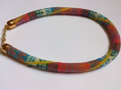Bead Crochet Necklace  Summer Necklace 3 Beaded by alevduzen