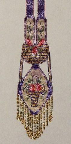 ANTIQUE ART DECO FLORAL MICRO BEAD BEADWORK FLAPPER NECKLACE / SAUTOIR - 1920 (04/30/2012)
