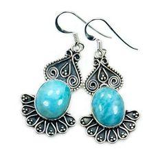 Filigree Style Sterling Silver Genuine Dominican Larimar Dangle Earrings  Price : $49.95 http://www.silverplazajewelry.com/Filigree-Sterling-Silver-Dominican-Earrings/dp/B00KLJJIYY