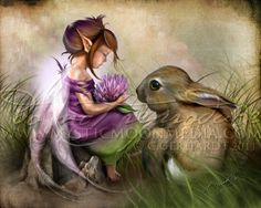 Clover...Child Fairy Picture Art...Matted Print... Fantasy Art... Little Fairy…