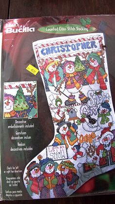 """Bucilla Counted Cross Stitch Christmas Stocking """"Snowman Sampler """" by Barbara Bootz by AmericanCityVintage on Etsy"""