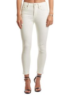 Citizens Of Humanity Agnes Crop Mid Rise Slim Straight Jeans Size 24 Denim Skinny Jeans, White Jeans, Flannel Lined Jeans, Jean Grey, Citizens Of Humanity, Super Skinny, Distressed Jeans, Leather Jacket, Clothes For Women