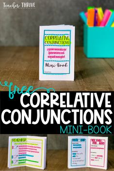 Tips and tricks for teaching correlative conjunctions. Download a free mini-book that requires just one sheet of paper. No staples or glue required. @teacherthrive