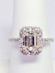 1.25CT Diamond Emerald Cut Halo Engagement Ring Anniversary Band Wedding Bands Rings Diamonds Platinum, 18K, 14K White, Yellow, Rose Gold - http://emerald-engagementring.com/1-25ct-diamond-emerald-cut-halo-engagement-ring-anniversary-band-wedding-bands-rings-diamonds-platinum-18k-14k-white-yellow-rose-gold/