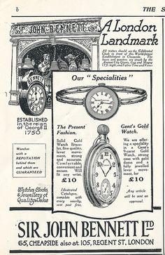 vintage watchmaker advertisement, London.