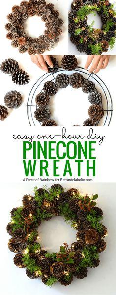 Pine Cone Wreath | 12 Easy DIY Christmas Wreath Ideas – Learn How to Make a Christmas Wreath