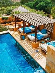 Patio Pergola Designs Perfect For The Summer Days Beds by the pool, now there's an idea.Beds by the pool, now there's an idea. Wooden Pergola, Outdoor Pergola, Backyard Pergola, Pergola Kits, Pergola Ideas, Backyard Ideas, Patio Decks, Backyard Shade, Outdoor Areas