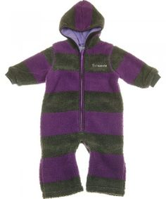 Katvig purple and grey stripe teddy fleecesuit / stroller bag
