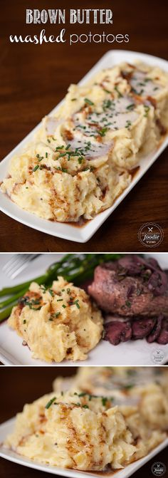 Brown Butter Mashed Potatoes with the nutty and aromatic flavor of browned butter are the perfect side dish to any dinner, including Thanksgiving!