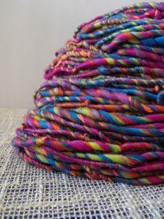Electric Rainbows Corespun Handspun Yarn