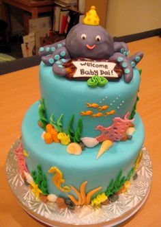 Ocean-themed baby shower cake By bluberri123 on CakeCentral.com