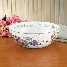 """(1) Butterfly Meadow® Sentiment Bowl (SKU: 811432) """"Live Well, Laugh Often, Love Much"""""""