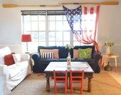 Patriotic Decorating Ideas In Red White And Blue