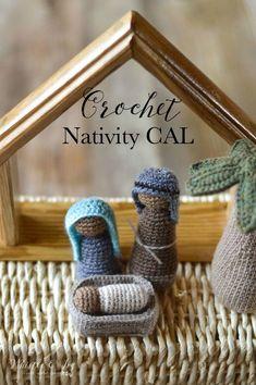 FREE Crochet Pattern: Beautiful Rustic Crochet Nativity Set, includes Mary, Baby, Joseph, Three Wise Men, two shepherds and a palm tree. #crochetnativityscene #crochetchristmaspattern #christmascrochet