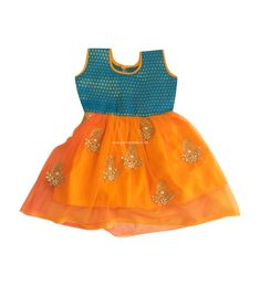 f5ddd398d3f0 Pattu Pavadai Baby Girls / Kids Raw Silk Netted Frock (Orange & Ramar Blue;  1-2 Years)