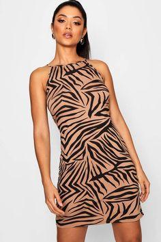 High Neck Zebra Bodycon Dress Latest Dress, Pop Fashion, Zebra Print, Online Shopping Clothes, Dress Collection, Going Out, Beauty Hacks, Bodycon Dress, Boohoo