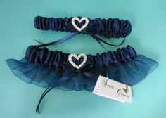 Navy Garter with Heart & Crystals