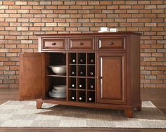 Buffet Tables & Hutches - Cheap Dining Room Credenzas, Wall Mounted Hatches and Wine Storages with Marble Top at eFurniture Mart on sale online. - Crosley Furniture Newport Buffet Server w/ Wine Storage #HomeDecor #InteriorDesigner #HomeDecorating #interiordesign #furniture #efurnituremart #HomeDecorator #decor   #roomdecorating - eFurnitureMart, eFurniture Mart