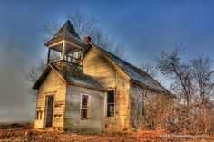 """Title """" Kentucky Road School House"""" photo taken in HDR early morning with fog."""