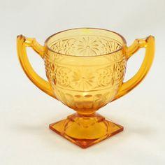 Daisy Amber Sugar Bowl Indiana Glass Vtg