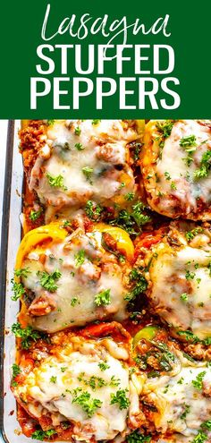 These Low Carb Lasagna Stuffed Peppers are filled with ground beef, ricotta, spinach and pasta sauce then topped with mozzarella cheese! #lasagna #stuffedpeppers