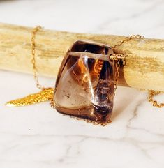 Chunky Smooth Smoky Quartz Nugget w Leaf Detail Necklace on Gold Filled Chain