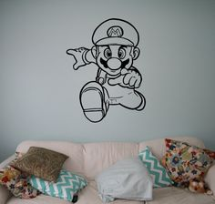 Super Mario Vinyl Decal Retro Video Game Hero by USAmadeproducts