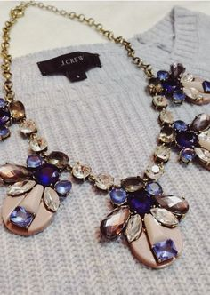 J. Crew sweater and statement necklace