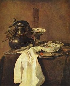 Jan Jansz. Treck (1606–1652), Still Life Pewter Jug and Two Porcelain Plates (1645)