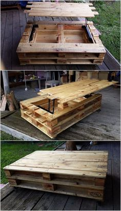 Superb Reusing Ideas for Old Wooden Pallets Pallet Table with Hidden Storage Wood Pallet Recycling, Wooden Pallet Projects, Wooden Pallet Furniture, Wooden Pallets, Wooden Diy, Pallet Ideas, Recycled Pallets, Pallet Wood, Buy Pallets