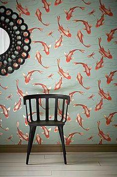 Design Tapete rot orange grün Koromo Cameo Tapeten Schlafzimmer online kaufen