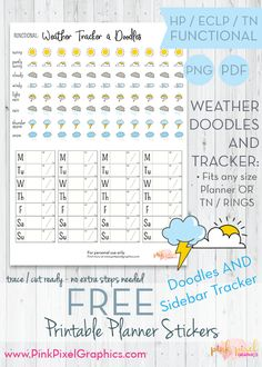 Free Printable Weather Doodle Icons and Tracker Planner Stickers {subscription required}. These free sticker icons will fit just about any planner. See more at www.pinkpixelgraphics.com