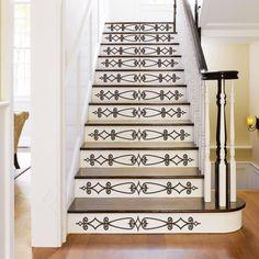 Vinyl Stair Decals for Staircase Riser Decor - Decorative Stair Riser Decal… Staircase Decals, Staircase Design, White Staircase, Staircase Remodel, Stair Stickers, Bumper Stickers, Stair Makeover, Stair Risers, Stair Handrail