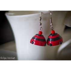 Red & Black Quilled Jhumka