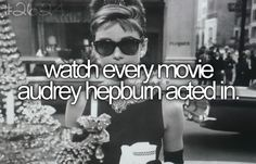 Check!  (:  And I'm tired of people only associating her with Breakfast At Tiffany's  I'm a huge Audrey Hepburn fan, and don't get me wrong I enjoy that movie, but she's got so many other talented films
