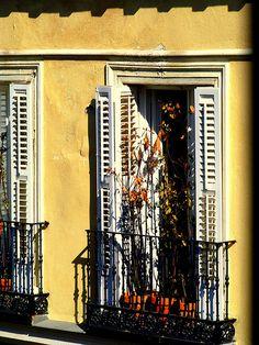 yellow house  white shutters  black wrought iron window box (maybe)