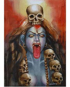 Maa Kali Images, Shiva Parvati Images, Durga Images, Indian Goddess Kali, Goddess Art, Durga Painting, Artist Painting, Watercolor Painting, Ganesha Sketch