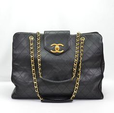 Chanel Black Quilted Lambskin Supermodel Tote Bag