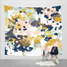 Sloane - Abstract painting in modern fresh colors navy, mint, blush, cream, white, and gold Wall Tapestry by CharlotteWinter | Society6