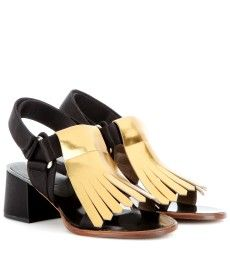 Marni Edition - Metallic-leather and satin sandals  -