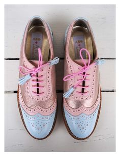 ABO+ Ana Ljubinkovic pink and light blue brogues #abo #abo+analjubinkovic #shoes…