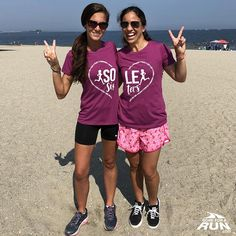 Run with your Bestie! Our Sole Sister Heart Set is designed to wear together! Tara and Nancy are wearing our Women's Everyday Runners Tee in Lushberry. We Wear, How To Wear, Sisters By Heart, Running Gifts, Athletic Wear, Cute Designs, Short Sleeve Tee, Female, Running Apparel