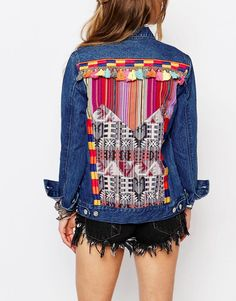 Image 3 of Honey Punch Festival Oversized Denim Jacket With Colourful Back Patch Applique And Tassel Trim