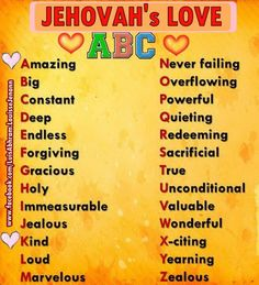 Family Worship Idea: Jehovah's Love ABC. Making one for Fisher someday                                                                                                                                                      More