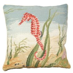 NCU-812 Sea Horse is a beautiful handmade Needlepoint pillow from MICHAELIAN HOME'S Nautical  category.  Sea Horse is very realistic with it's rich shades of Coral. The Sea Horse sits on a sandy bed  with Seaweed and Coral on each side. Rich Greens, Browns, Reds, Coral, Taupe's, and blues make this a beautiful pillow.  NCU812 Sea Horse  goes great in all rooms. Looks Fabulous on a sofa.  Beige cotton velvet zippered back. Remove insert. Dry cleanable. �Size 18 X18 inches
