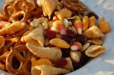 "Clever - a ""Thanksgiving"" snack mix. Each ingredient represents something related to Thanksgiving/the Pilgrims/etc. Fun for kids..."
